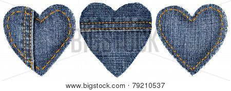 Jeans Heart Shape Patch Object With Stitches Seam, Decorative Fabric Joint Isolated White Background