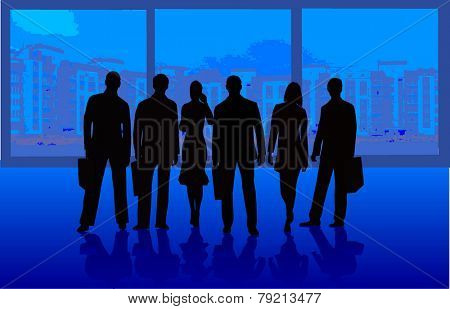 Business Team - vector silhouette illustration