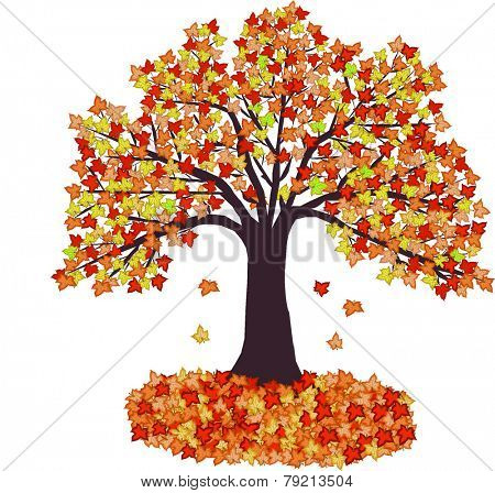 Autumn Leaves and tree - vector illustration