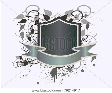 Coat of arms with banner - grunge vector illustration