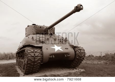 Us Army Sherman Tank At Normandy Historic Site In France In Sepia