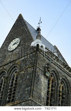 Sainte Mere Eglise Church Steeple In Normandy France