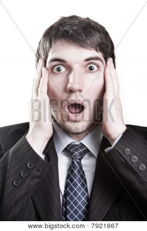 Business Man With Surprise Expression On Face