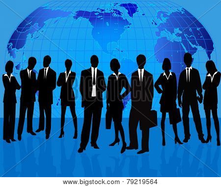 Business Team Manager Introducing Project - vector silhouette illustration