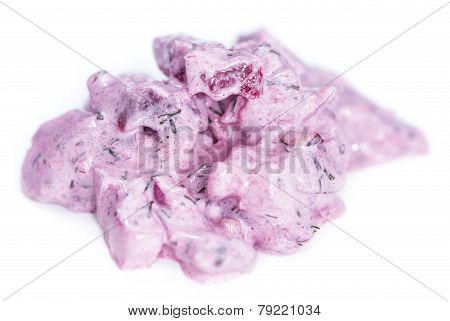 Herring Salad (with Beet) Isolated On White