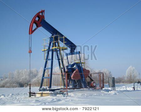 Oil Pump Jack In Winter