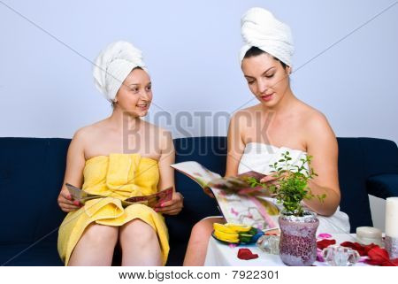 Women Reading Magazines At Spa Salon