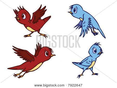 Assorted Cute Bird Illustration In Vector