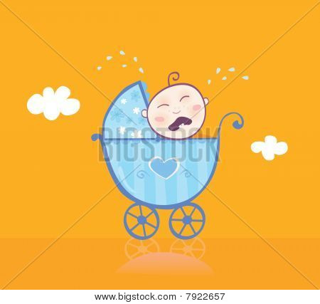 Small Boy Crying In Pram