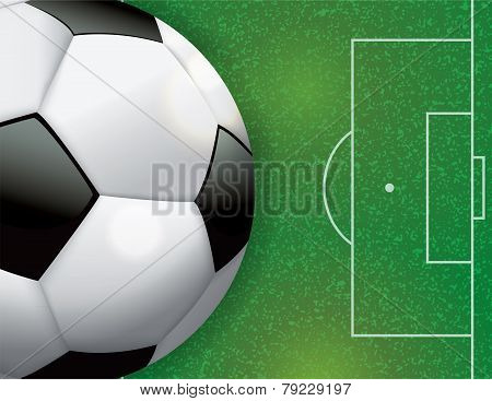 Soccer Football On Field Illustration