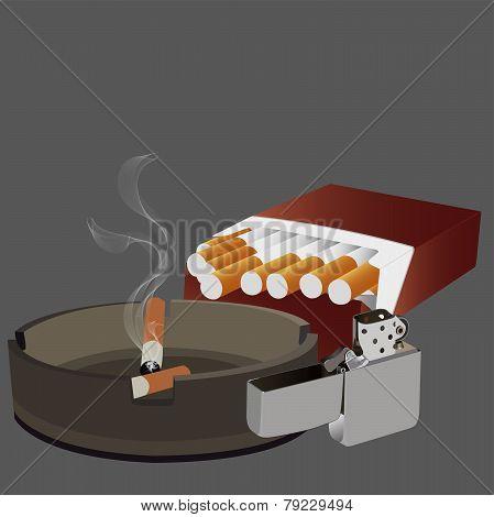 cigarettes, ashtray, lighter