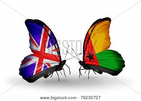 Two Butterflies With Flags On Wings As Symbol Of Relations Uk And Guinea Bissau