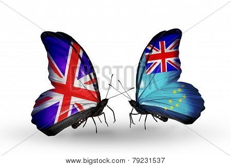 Two Butterflies With Flags On Wings As Symbol Of Relations Uk And Tuvalu