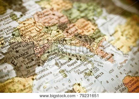 close-up macro photograph of map  Italy .Selective focus on Italy