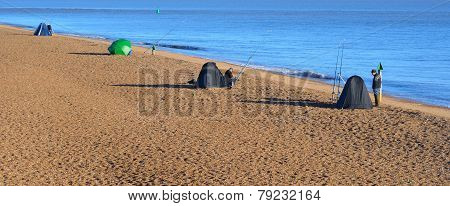 Sea Fishing from the Beach at Felixstowe