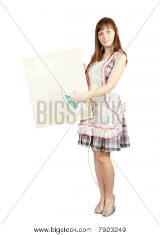 Girl In With Iron And Placard