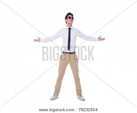 Full body successful excited business man happy smile hold wide open palm gesture,
