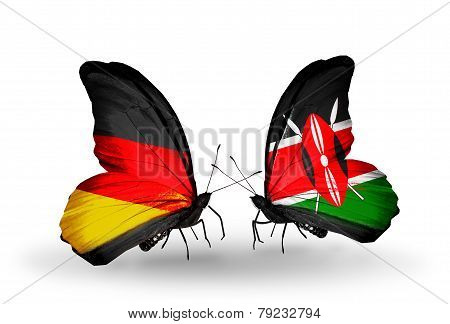 Two Butterflies With Flags On Wings As Symbol Of Relations Germany And Kenia