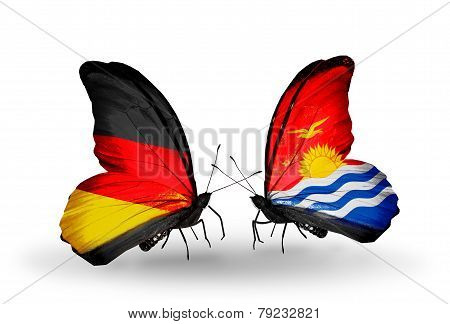 Two Butterflies With Flags On Wings As Symbol Of Relations Germany And Kiribati