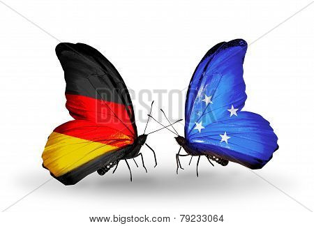 Two Butterflies With Flags On Wings As Symbol Of Relations Germany And Micronesia