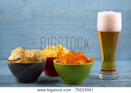 Beer And Various Types Of Chips
