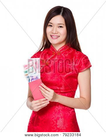 Chinese woman hold lucky money with RMB