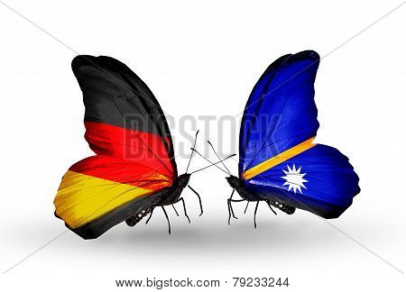 Two Butterflies With Flags On Wings As Symbol Of Relations Germany And Nauru