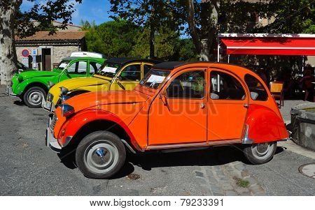 Three Classic Citroen 2CV cars