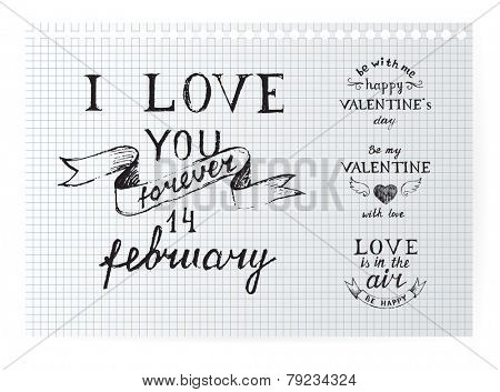 Valentine's day typography design elements