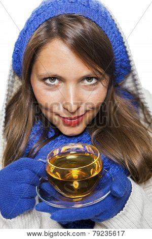 woman portrait in warm clothes