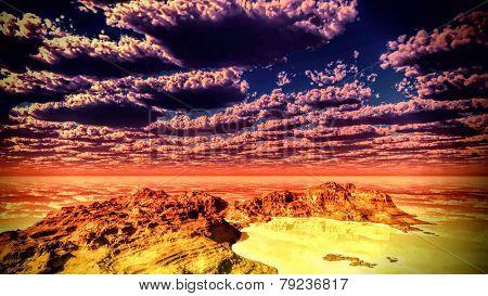Beautiful Chilean landscape at dawn