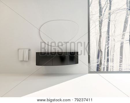 3D Rendering of Modern black wall-mounted vanity unit on a white wall with a freeform shaped mirror in a luxury bathroo interior alongside a large window with a view of winter trees