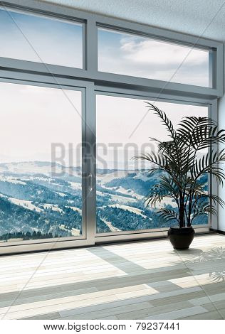 3D Rendering of Palm Plant Ornament on Pot Near Glass Windows Inside Architectural Building Emphasizing Beautiful Overlooking Outside View.