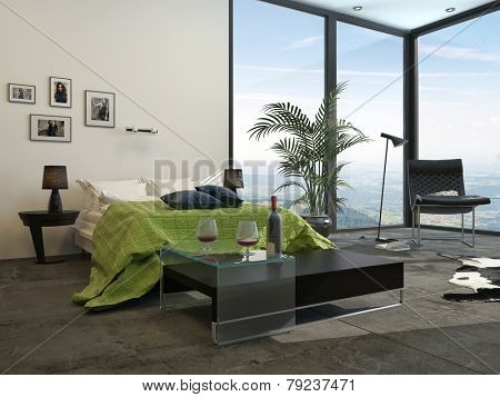 3D Rendering of Modern grey and white decor hotel bedroom interior with welcoming wine on a table at the end of the bed which has a green accent counterpane , cabinets a potted palm