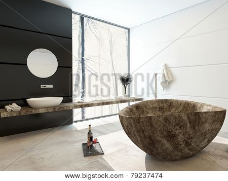 3D Rendering of Modern marbled bathtub in a luxury bathroom with black and white decor and a large floor-to-ceiling view window allowing in lots of bright daylight