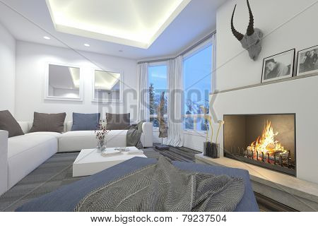 3D Rendering of Upmarket living room interior with a blazing fire, recessed overhead lighting, modular comfortable sofas and a trophy mounted on the chimney alongside a glass patio door