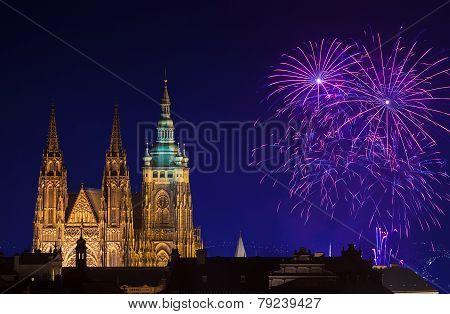 New Year fireworks in Prague
