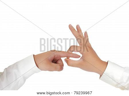 Rude Hand Gesture Isolated on White