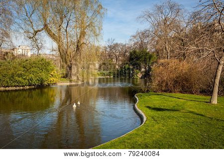 Tranquil Park With A Pond And Wildflowers