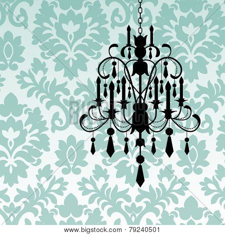 Damask wallpaper with chandelier