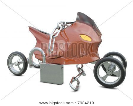 Motorcycle, chain and opened padlock
