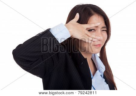 Young Asian Businesswoman Smile Peeking Though Her Fingers