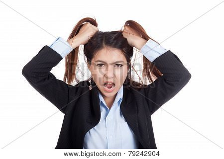 Stressed Young Asian Businesswoman Is Going Crazy Pulling Her Hair