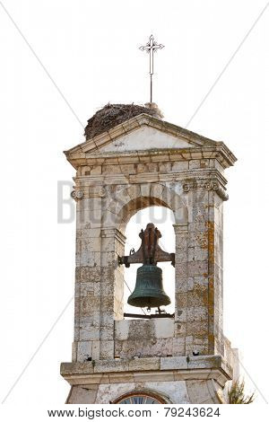 Church tower isolated on white in the city of Faro, Algarve, Portugal