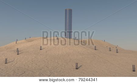 abstract sand terrain with glass tubes