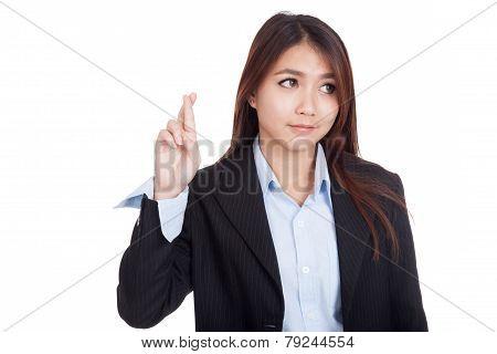 Young Asian Businesswoman Cross Her Fingers Look Away