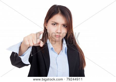 Young Asian Businesswoman Very Angry Point To Camera