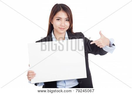 Young Asian Businesswoman Point To Blank Sign