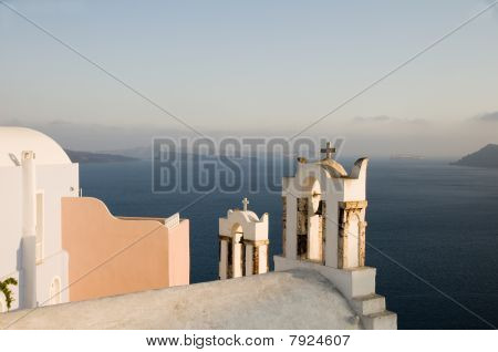 Greek Island Twin Bell Tower Church Over The Caldera Oia Santorini Mediterranean