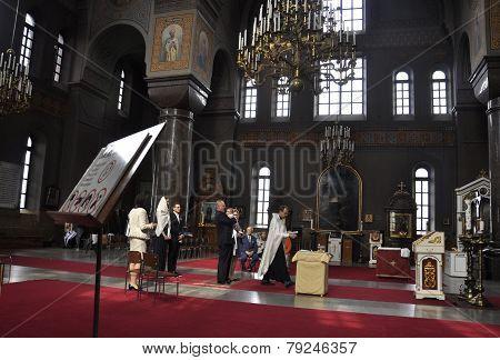 HELSINKI-AUGUST 23:Cathedral Uspenski, interior